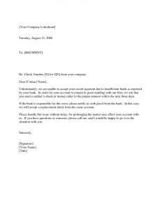 Nsf Letter Of Support Template - Insufficient Funds Letter From Bank