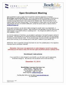 Open Enrollment Letter Template - Open Enrollment Letter to Employees 2018
