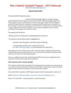 Pageant Sponsorship Letter Template - Letter asking for Individual Sponsorship New Pageant Sponsorship