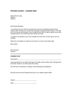 Parent Permission Letter Template - Parental Consent Permission Letter Template Examples