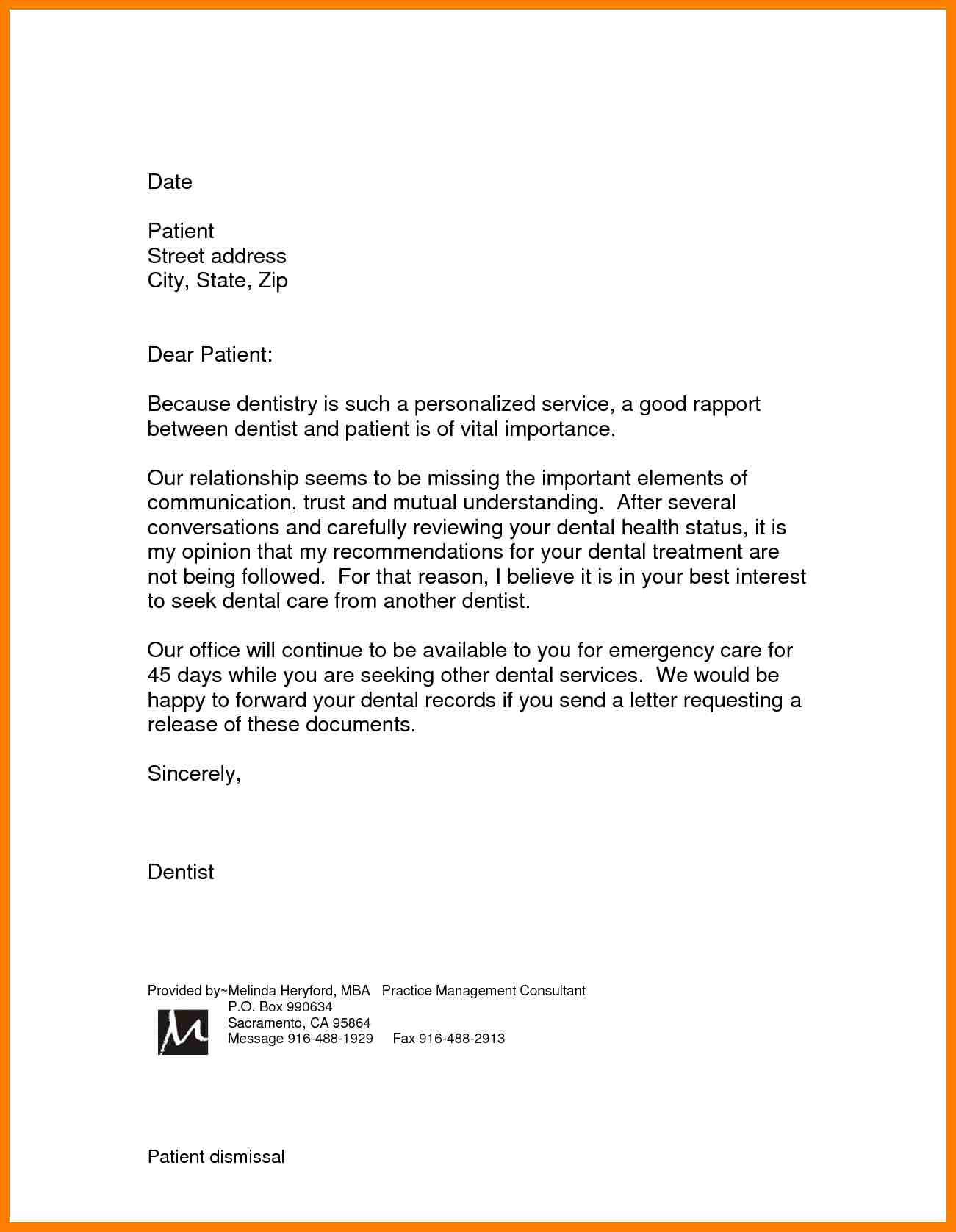 patient dismissal letter template Collection-patient dismissal letter for behavior template 16-n