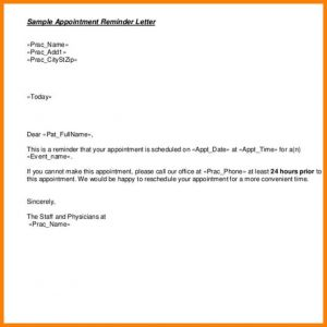 Patient Recall Letter Template - Appointment Reminder Letter Template Medical Download