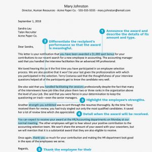 Performance Bonus Letter Template - How to Write An Award Letter to Recognize An Employee