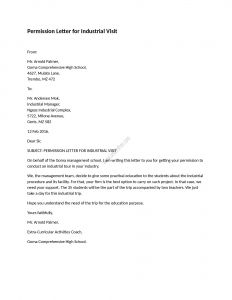Permission to Hunt Letter Template - Permission Letter for Industrial Visit