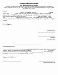 Permission to Travel Letter Template - Parent Consent Letter for Travel Template Collection
