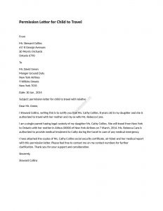Permission to Travel Letter Template - Permission Letter for Child to Travel Sasasasas