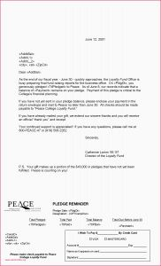 Pledge Reminder Letter Template - Simple Reminder Letter format Sample Letter to Host Family Archives