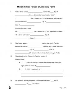 Power Of attorney Letter Template - Free Minor Child Power Of attorney forms Pdf Word
