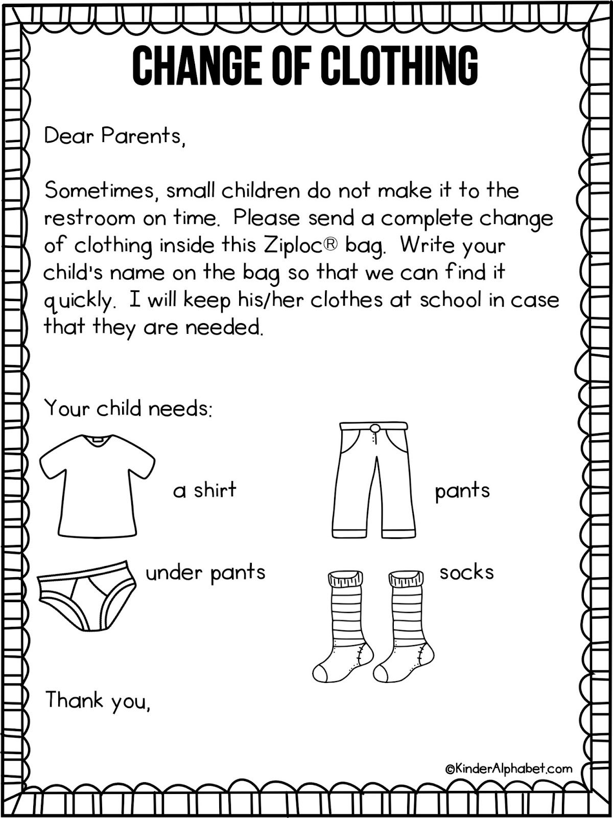 preschool welcome letter to parents from teacher template example-Parent Letter for Change of Clothing free from KinderAlphabet via Freebielicious Probably want to edit it a bit to fit our classroom 2-g