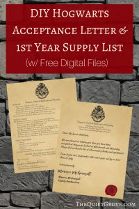 Printable Hogwarts Acceptance Letter Template - themed Party Printables Birthday Party Ideas