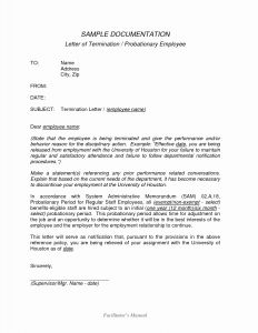 Probation Termination Letter Template - Dismissal Letter Template Editable 20 Employee Termination Letter