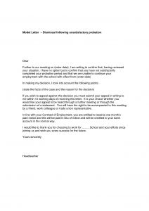 Probation Termination Letter Template - Employment Probation Letter Template – Letter Templates Free