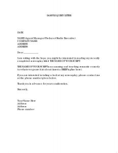 Property Inspection Letter to Tenant Template - Example Query Letter Seeking Basic Information Archives Pro