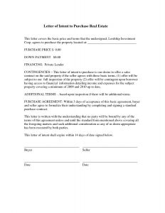 Real Estate Letter Of Intent Template - Standard Fer Letter Real Estate