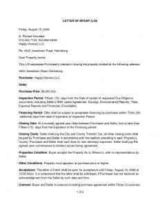 Real Estate Letter Of Intent Template - Letter Intent to Purchase Real Estate Free Template