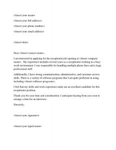 Receptionist Cover Letter Template - Sample Cover Letter for Job Nyu Cover Letters Sample New Job Fer