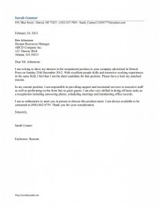 Receptionist Cover Letter Template - Receptionist Cover Letter Template Work Resumes Etc