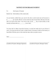 Rent Increase Letter to Tenant Template - Free Printable Rent Increase Letter