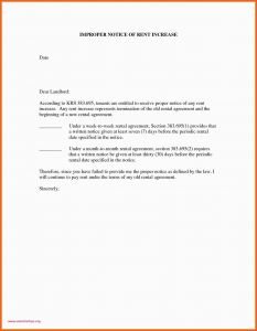 Rent Increase Letter to Tenant Template - Example Letter to Vacate Rental Property 30 Day Notice to Vacate