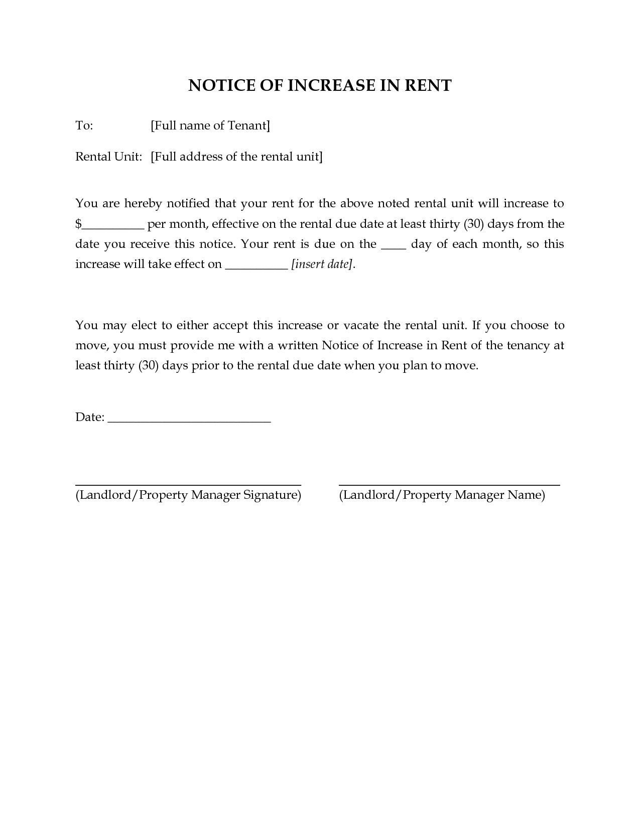 rent-increase-letter-to-tenant-template Storage Increase Letter Template Or Examples on salary spreadsheet, storage rate, basic pay raise, communicating compensation, letter recommendation for pay, excel payroll, free salary, for wage,