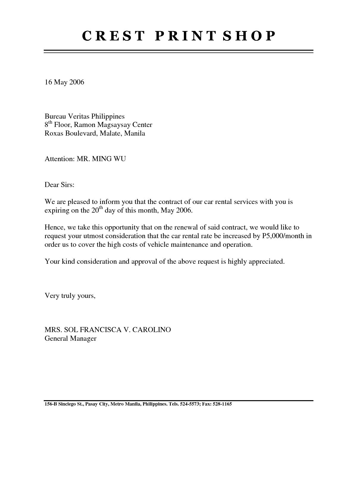 rental letter template example-rent agreement letter template 7-q