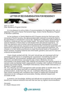 Residency Recommendation Letter Template - Re Mendation Letter for Residency Sample