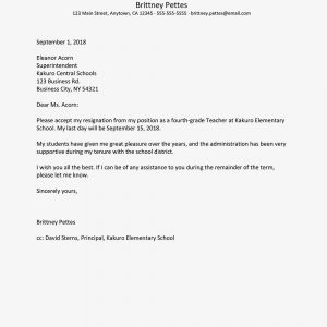 Resignation Letter Free Template - Teacher Resignation Letter Examples