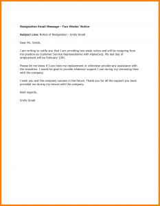 Resignation Letter Template 2 Weeks Notice - Writing A Resignation Letter Samples New Resignation Letter Examples