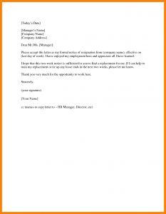 Resignation Letter Template 2 Weeks Notice - 2 Week Notice Letter Template Examples