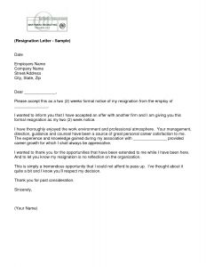 Resignation Letter Template Uk - Letter Of Resignation 2 Weeks Notice Template