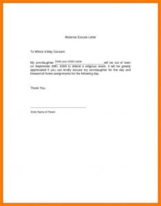 School Absence Excuse Letter Template - Excuse Letter Sample with Address Refrence Letter Excuse Letter