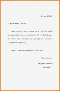 School Absence Excuse Letter Template - 35 Best Letter Absence From School for Vacation