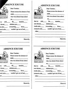School Absence Excuse Letter Template - Excuse Letter format Save School Absence Excuse Letter Sample