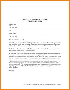 School Excuse Letter Template - Excuse Letter Sample Work Absent Archives Vgopk org New Excuse