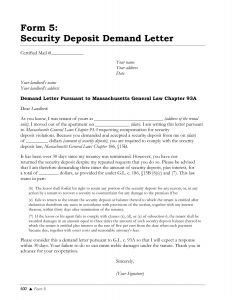 Security Deposit Demand Letter Template - Demand Letter to Landlord Template Samples