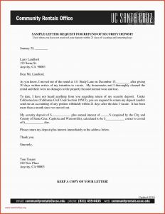 Security Deposit Demand Letter Template - Example Letter to Vacate Rental Property 50 Lovely Security