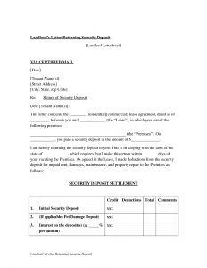 Security Deposit Return Letter Template - Landlord Letter Returning Security Deposit Sample