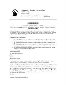 Security Deposit Return Letter Template - Letter format for Security Deposit Refund Refrence Security Deposit
