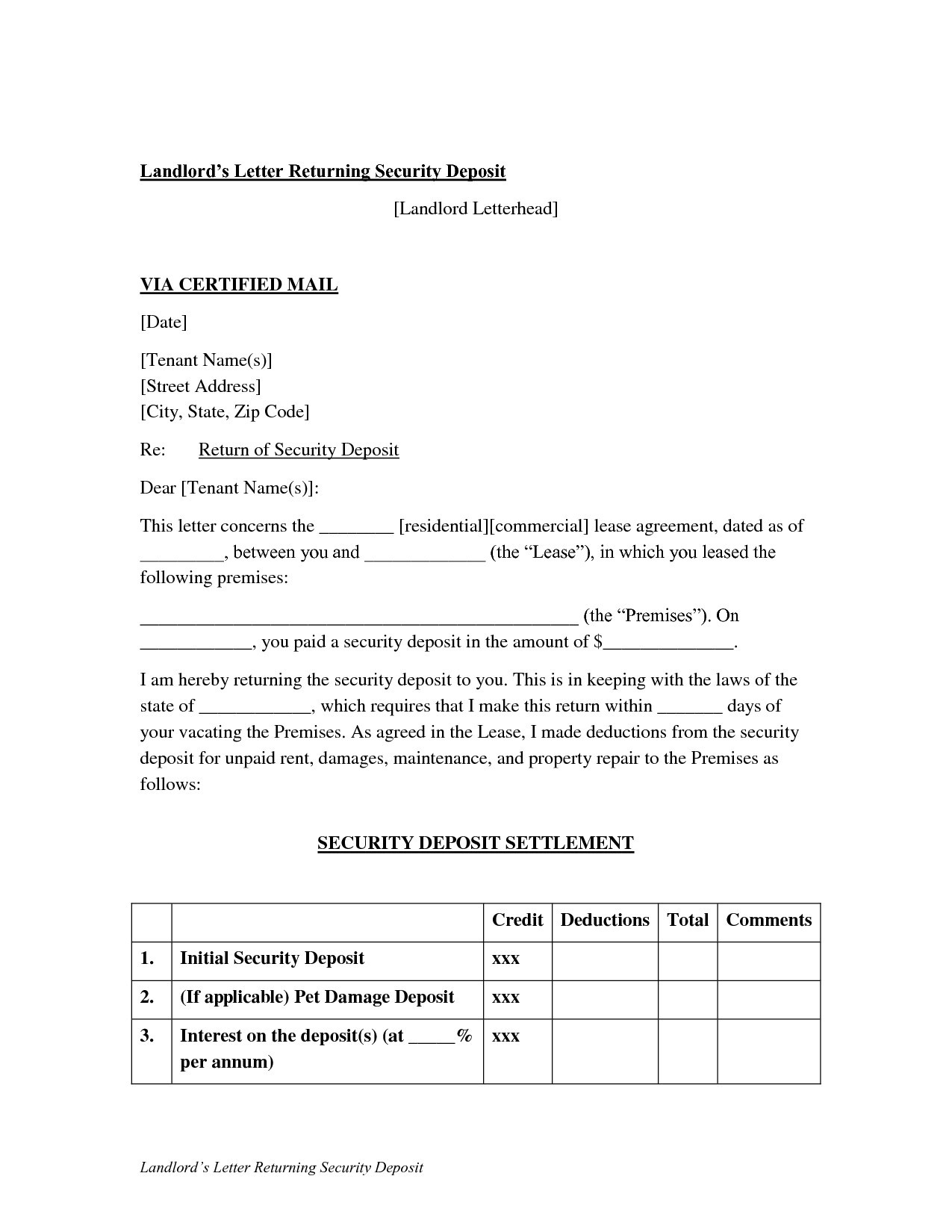 security deposit return letter template Collection-Landlord Letter Returning Security Deposit Sample Infoupdate Org 11-l