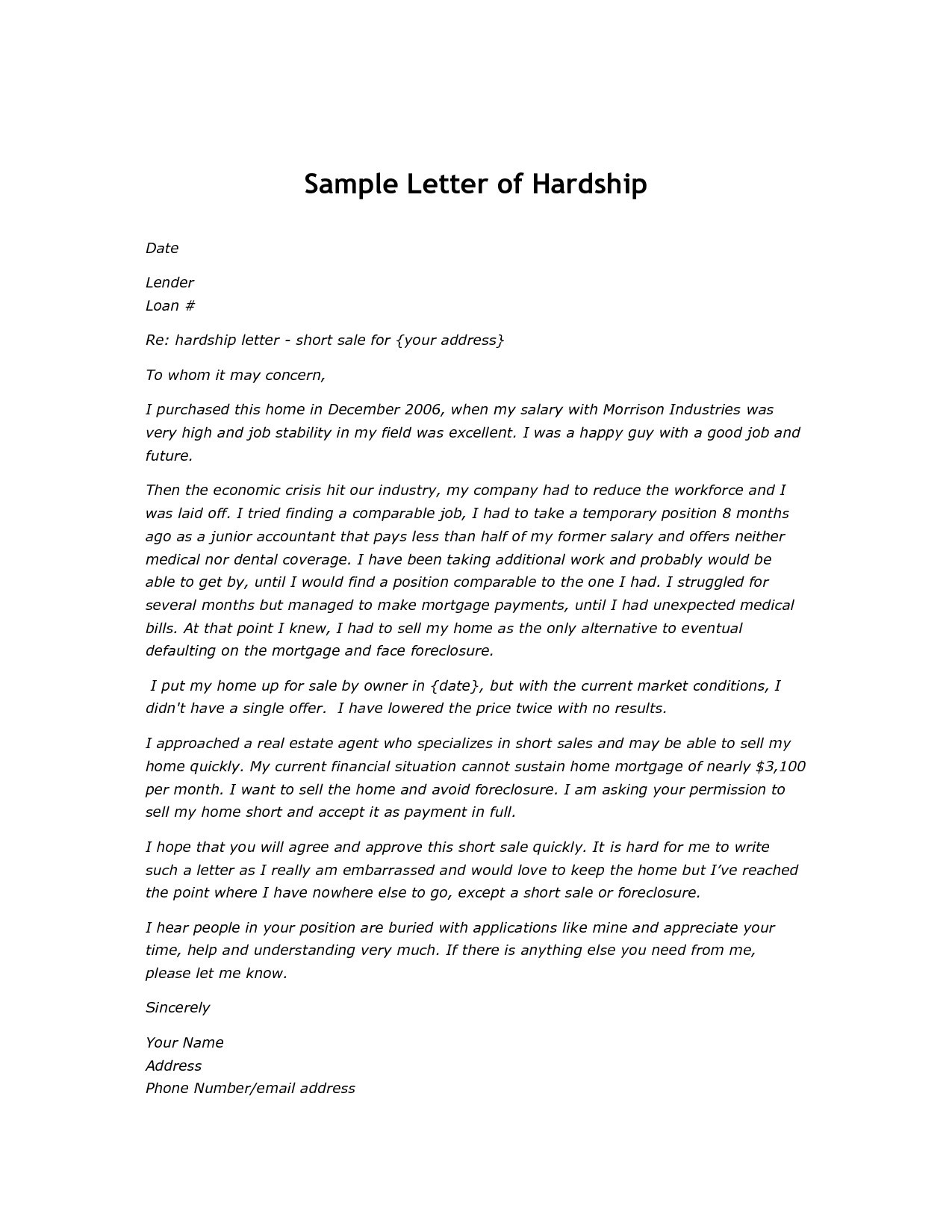 short sale hardship letter template example-short sale hardship letter template 6-m