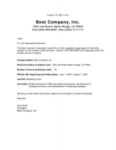 Simple Job Offer Letter Template - Employment Fer Letter Template Ideas Job Fer Letter Malaysia