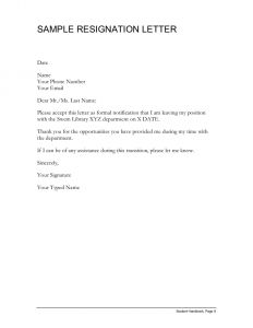 Simple Resignation Letter Template - Sample Resignation Letter Simple Resignation Letter