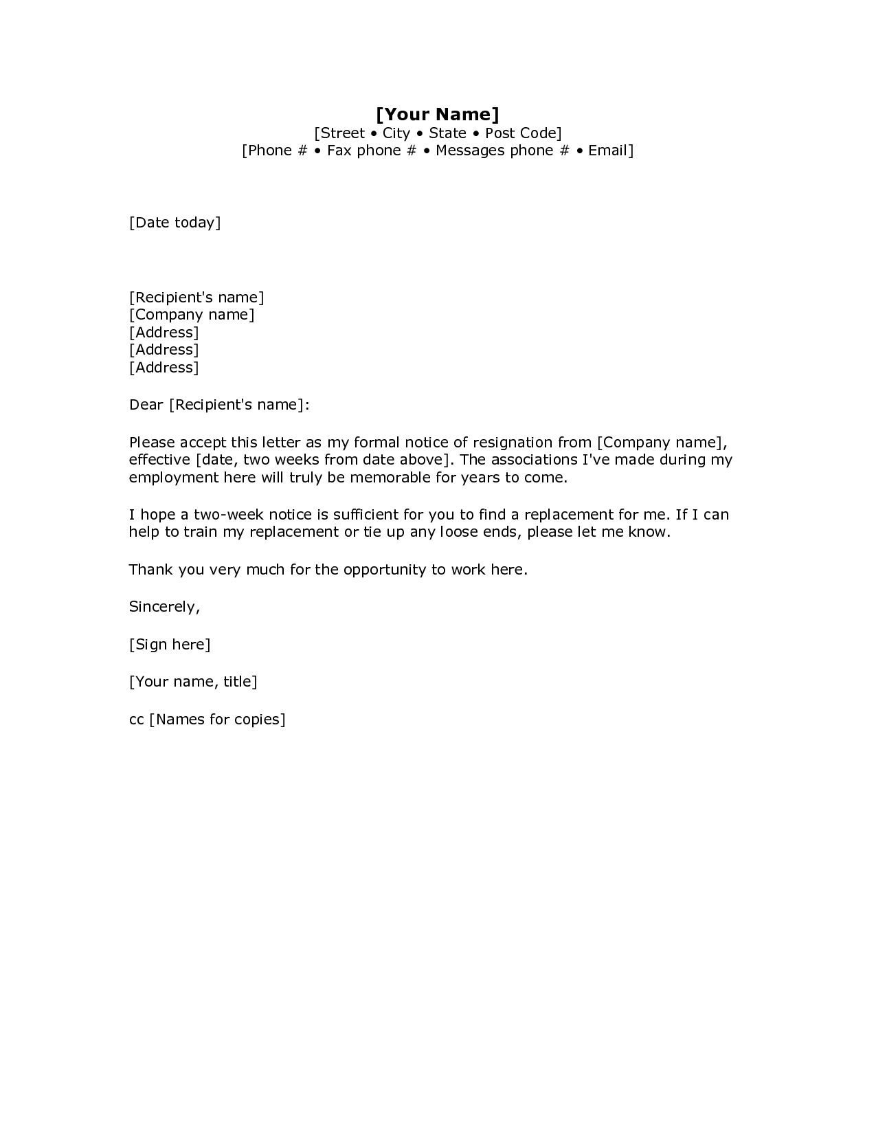 simple resignation letter template word example-2 Weeks Notice Letter Resignation Letter Week Notice Words HDWriting A Letter Resignation Email Letter Sample 10-o