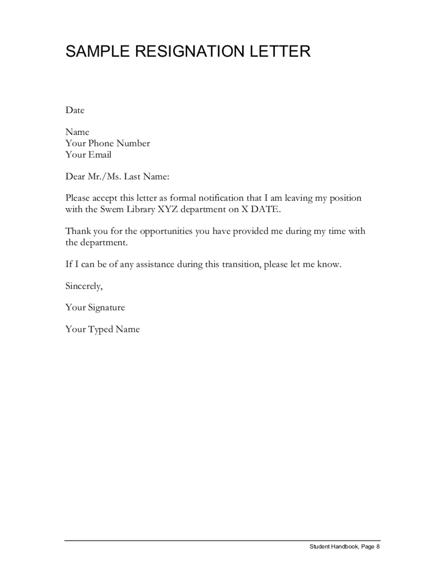 simple resignation letter template Collection-sample resignation letter simple resignation letter 5-m