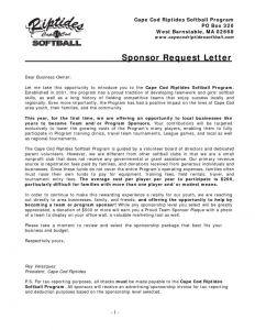 Softball Sponsorship Letter Template - Sample Baseball Sponsorship Letter