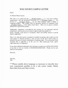 Sole source Letter Template Microsoft Word - New sole source Justification Letter Example