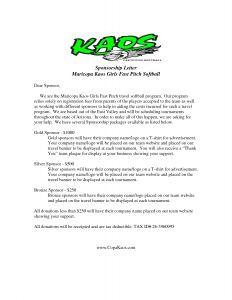 Sponsorship Letter Template for Non Profit - Request Letter Baseball Team Sponsorship Sports Sample Tryout