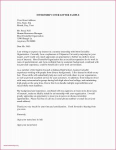 Standard Cover Letter Template - New Cover Letter Sample Internship