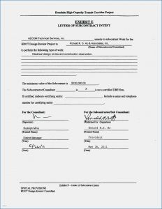Subcontractor Letter Of Intent Template - Subcontractor Letter Intent Template Examples