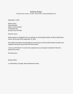 Sunday School Letter to Parents Template - Teacher Resignation Letter Examples